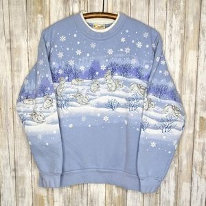 Vintage Snow Bunnies Winter Xmas Crewneck